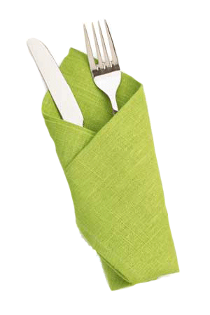 knife and fork in napkin